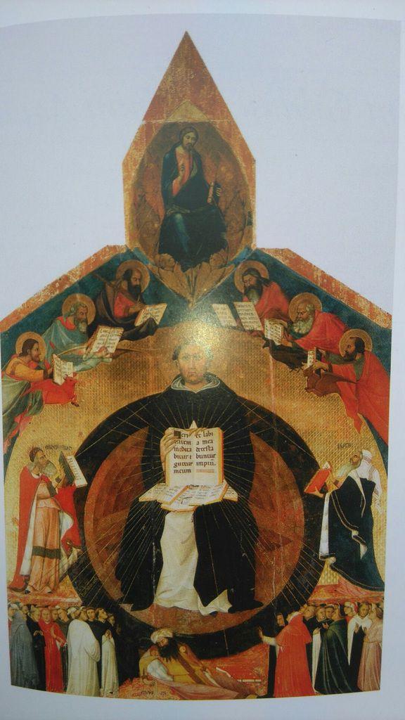 Le Triomphe de Saint Thomas, 1323, Lippo Memmi, Francesco Traini, Pise, Santa Caterina, dans Rosa Giorgi, Le Petit Livre des Saints, Larousse, Tolède 2006, p. 65.