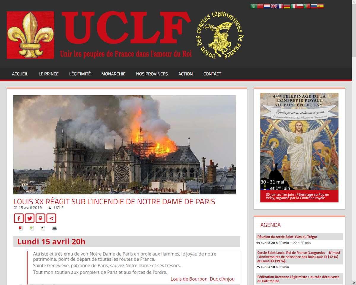 Incendie de Notre-Dame de Paris : Réaction de Mgr le duc d'Anjou