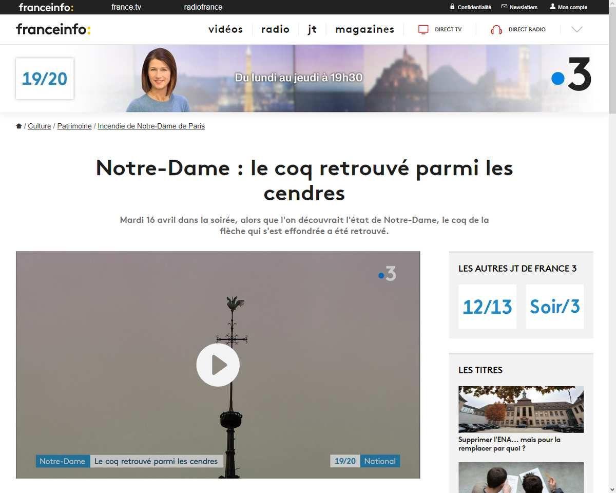 Source: https://www.francetvinfo.fr/culture/patrimoine/incendie-de-notre-dame-de-paris/notre-dame-le-coq-retrouve-parmi-les-cendres_3402979.html