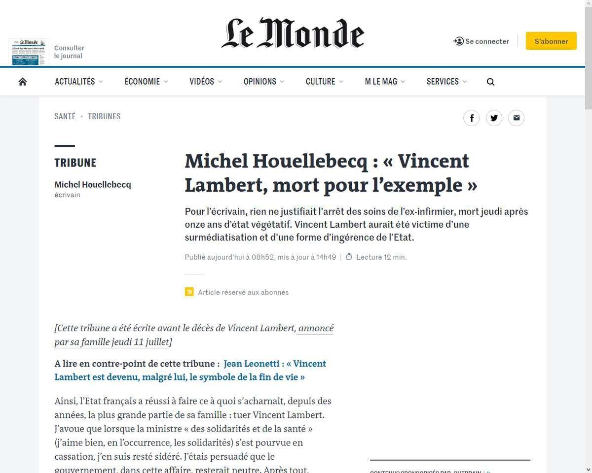 Michel Houellebecq : « Vincent Lambert, mort pour l'exemple »
