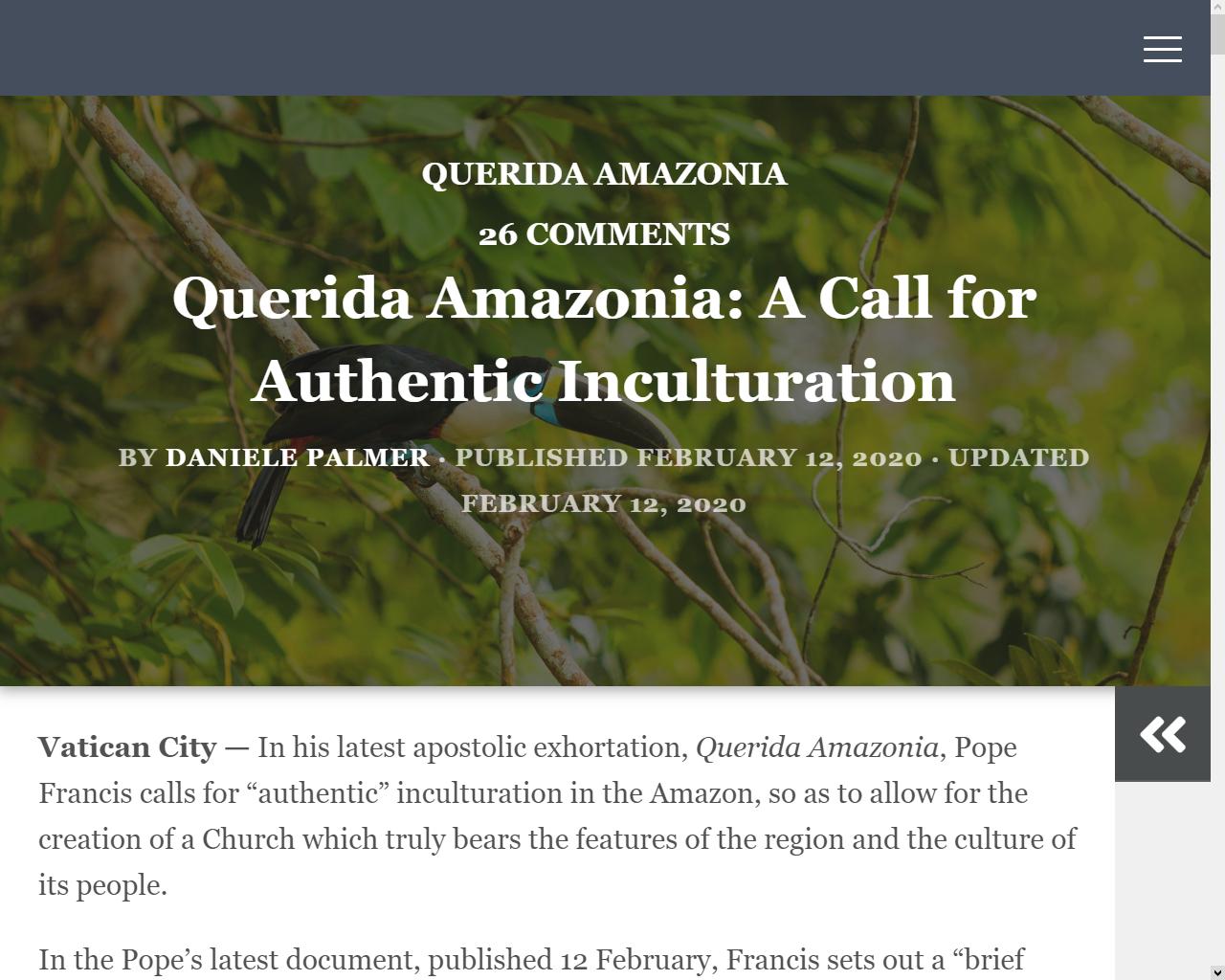 Querida Amazonia : un appel pour une authentique inculturation