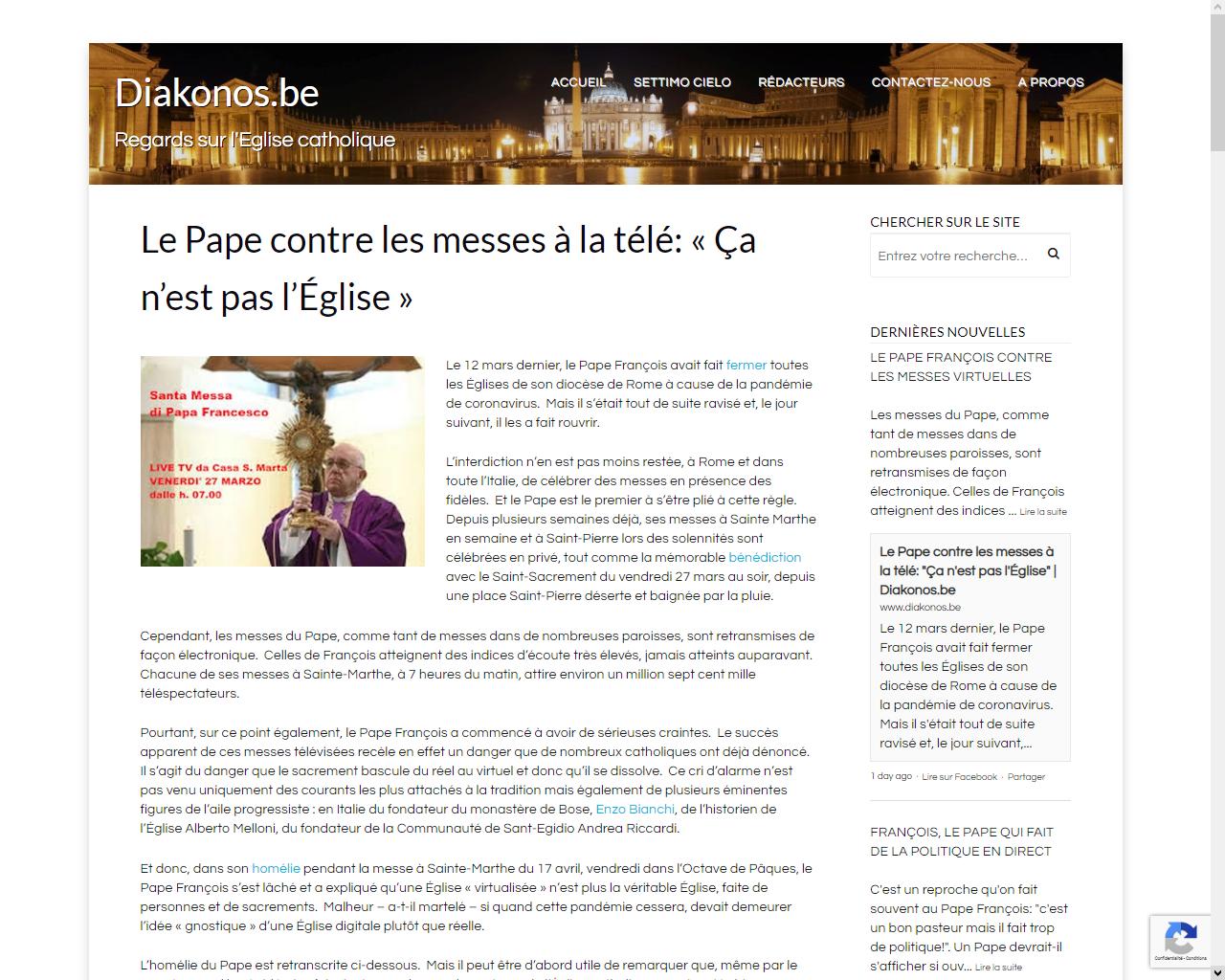https://www.diakonos.be/settimo-cielo/le-pape-contre-les-messes-a-la-tele-ca-nest-pas-leglise/