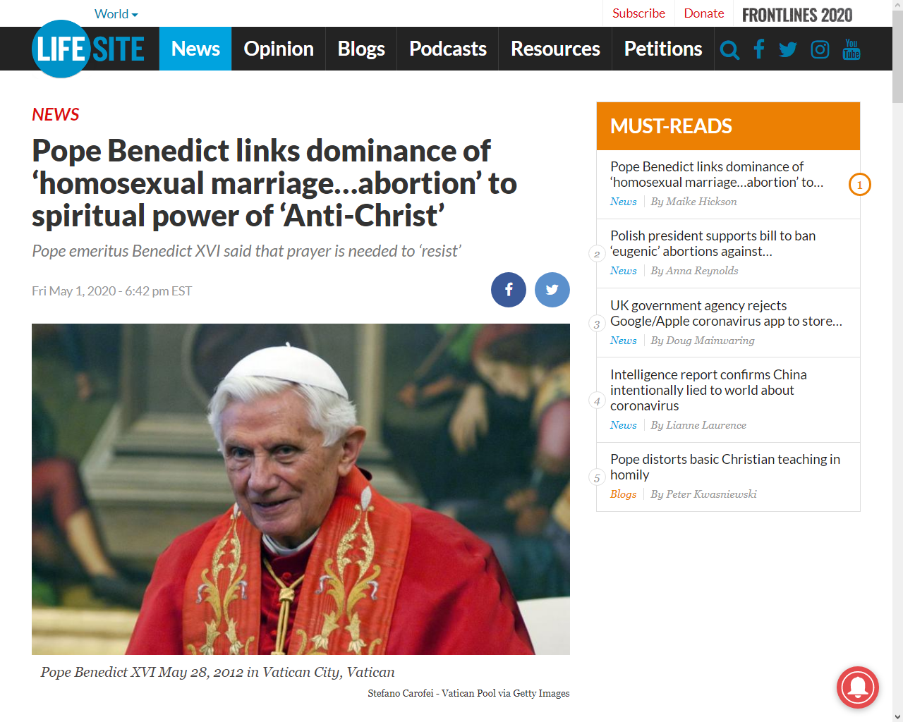 https://www.lifesitenews.com/news/pope-benedict-links-dominance-of-homosexual-marriage...abortion-to-spiritual-power-of-anti-christ