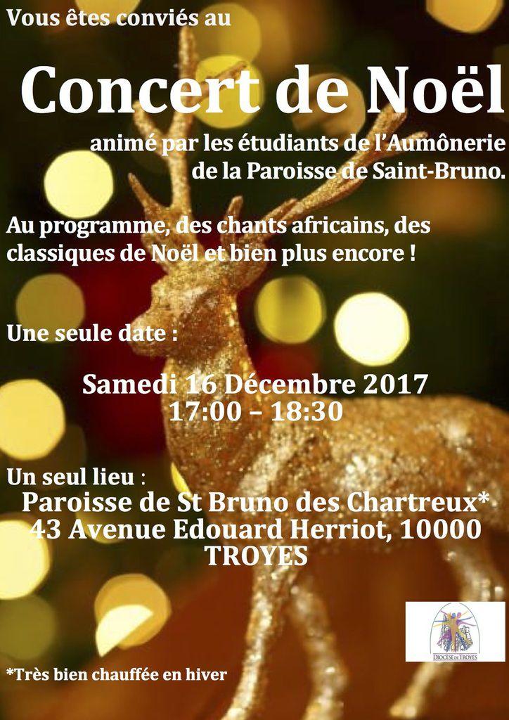 concert de l'aumônerie des étudiant le samedi 16 décembre 2017 - 17h à 18h