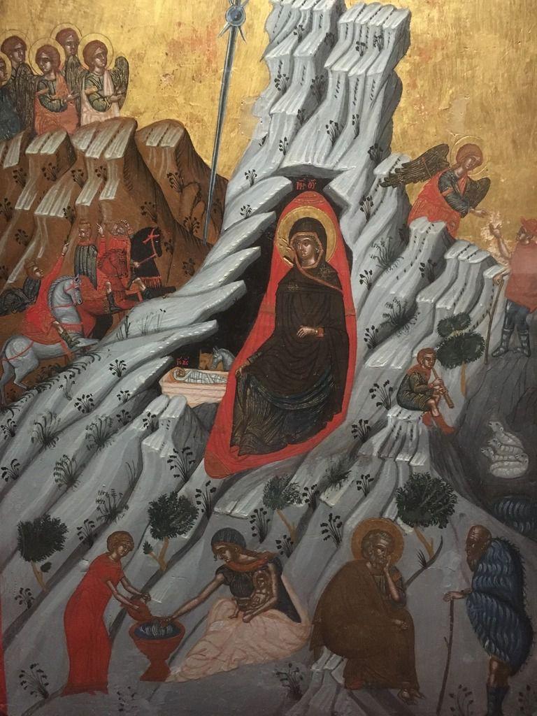 """Icône de la Nativité - exposition """"Chrétiens d'Orient""""  ;  vitrail en l'église paroissiale de Landreville (département de l'Aube - France)  collection privée ND"""
