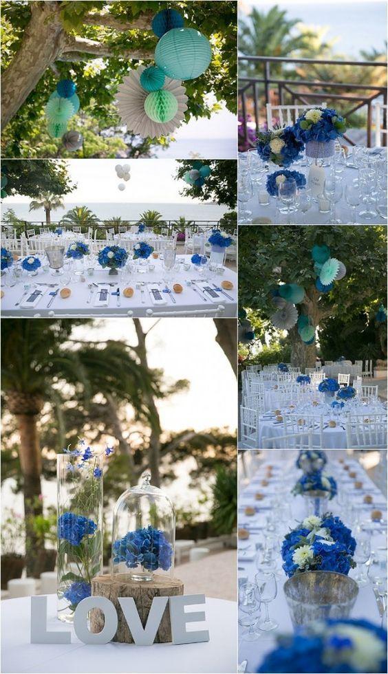 decoration de table de mariage bleue, deco de mariage bleue theme mer