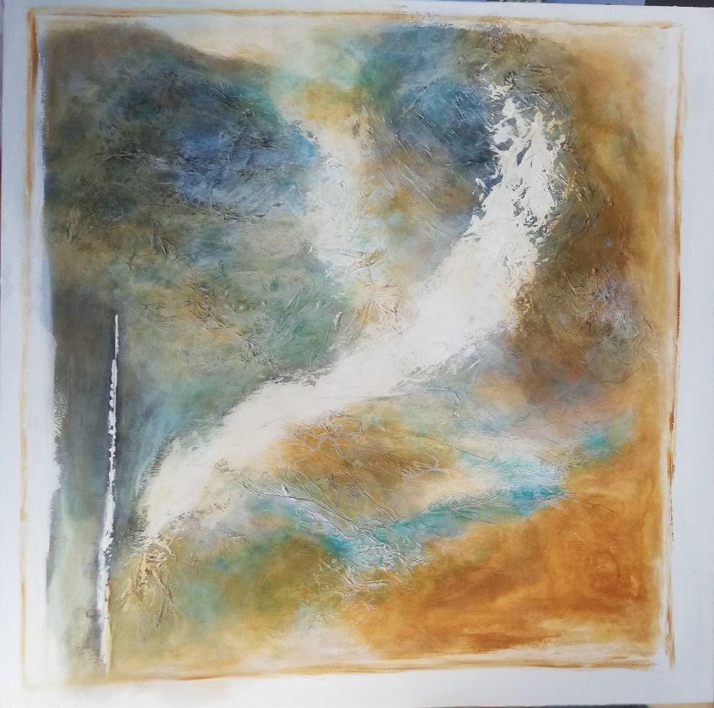 Acrylique sur toile - ajout de papier de soie - au couteau et au pinceau-Taille : 100 X 100 cm