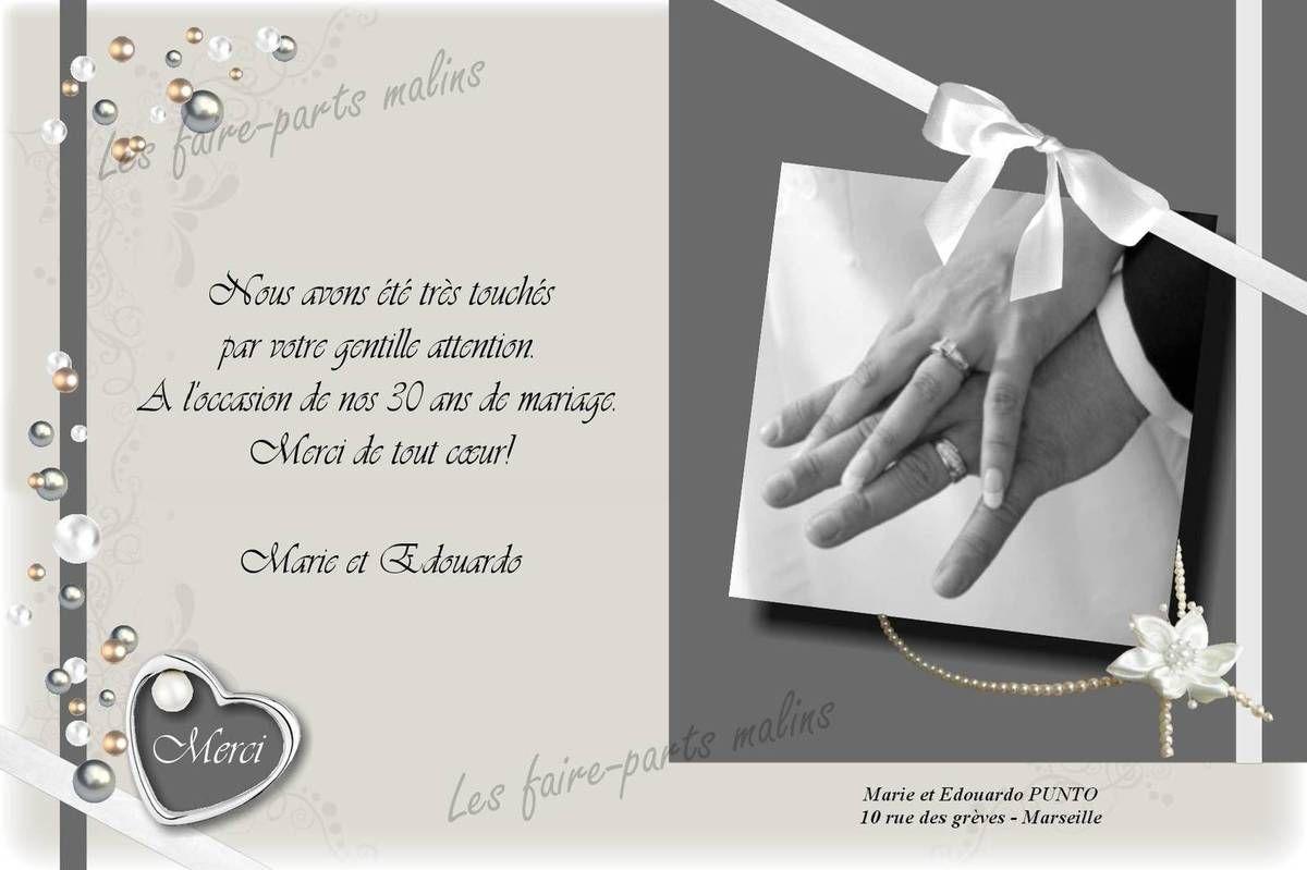 carteremerciements perle mariage invitationperlepascher noces de perles 30ansmariage baptême naissance