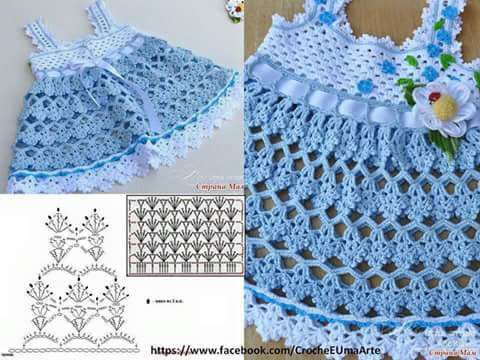 schema explications robe bleue en crochet