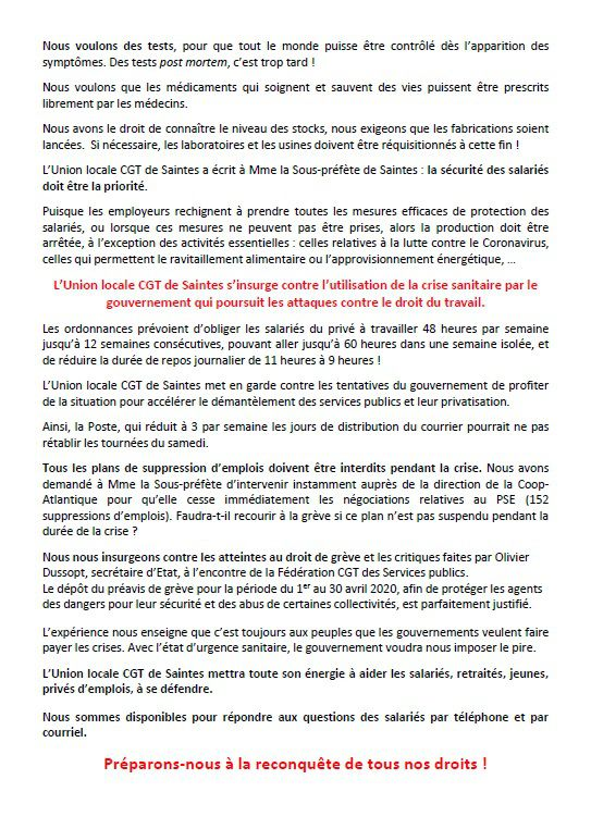 COMMUNIQUE DE PRESSE DE L'UNION LOCALE CGT DE SAINTES DU 30 MARS 2020