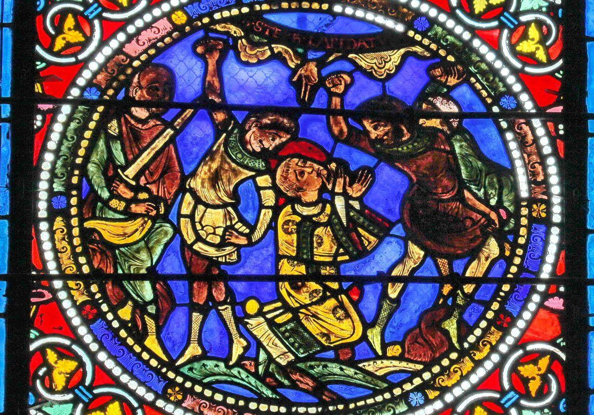 """Le Mans Baie XIX """"Lapidation de saint Étienne"""" vers 1155."""