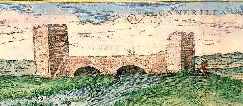 Hoefnagel, Civitates V,10 : Pont d'Alcanerilla (Alcantarillas), détail. http://www.sanderusmaps.com/detail.cfm?c=7330