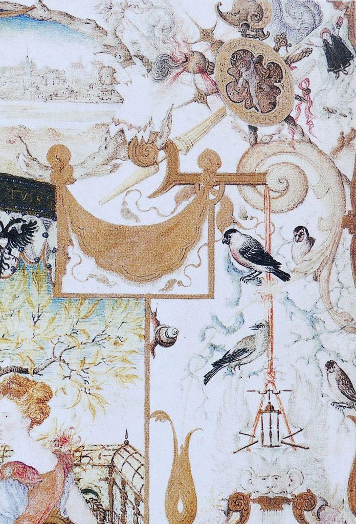 Joris Hoefnagel, les oiseaux chanteurs, in Allégorie aux deux Nymphes avec les vues de Munich et de Landshut (1579) , in Vignau-Wilberg 2006.