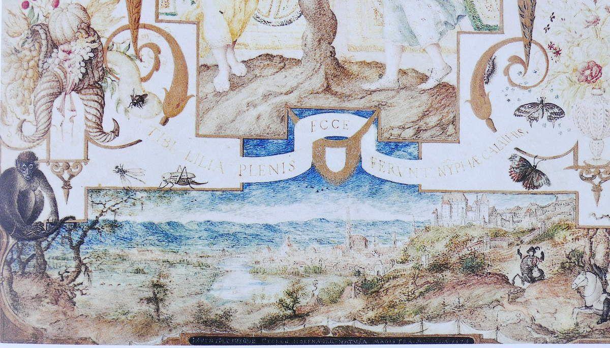 Joris Hoefnagel,Vue de Landshut, in Allégorie aux deux Nymphes avec les vues de Munich et de Landshut (1579) , in Vignau-Wilberg 2006.