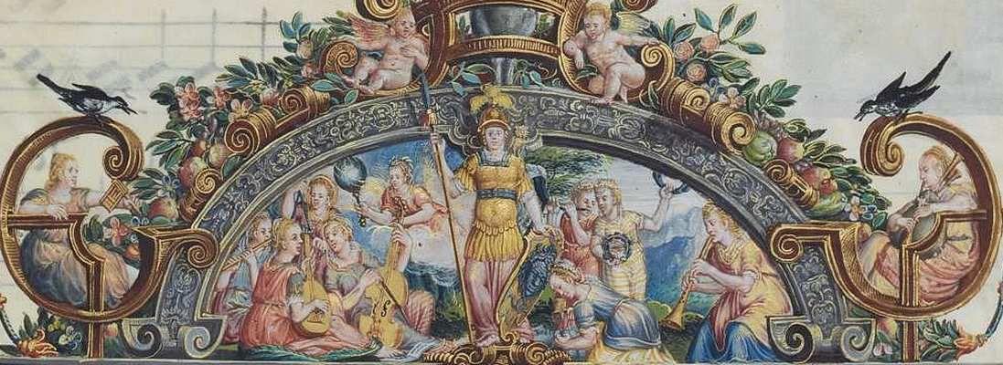 Minerve et  les Muses, Mus. Ms. AI, folio 222. Droits réservés  BBS MDZ