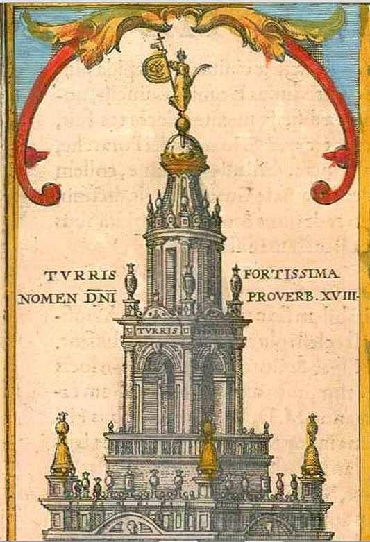 La Giralda (détail) en 1565 par Joris Hoefnagel, in Civitates Orbis Terrarum de Braun et Hogenberg 1598 Volume V planche 35. Copyright sanderusmaps.com.