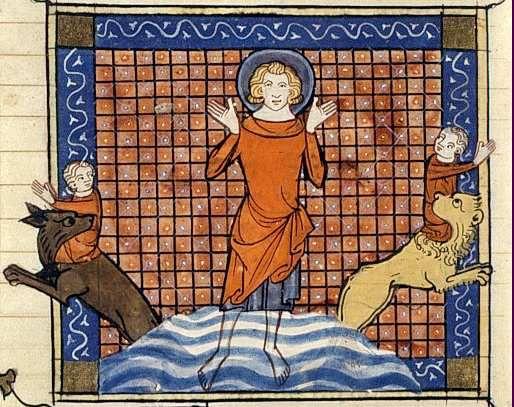 S. Eustache perdant ses enfants, Français 241 folio 288v : Richard de Monbaston, Legende dorée de Jacques de Voragine traduit par Jean de Vignay, 1348