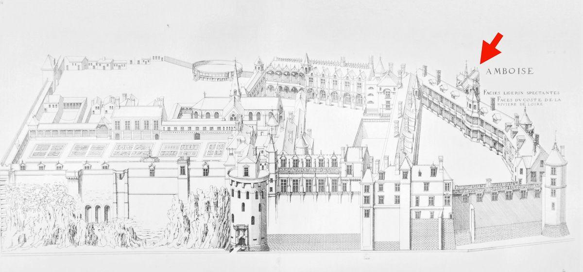 Androuet du Cerceau, plan du château d'Amboise. La chapelle = flèche.