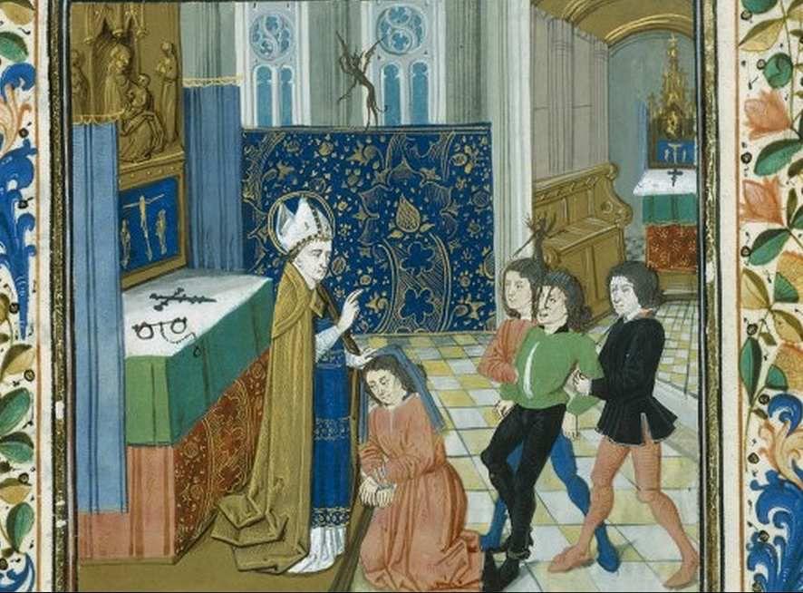 Hubert Le Prouvost , Vie de saint Hubert, Bnf 424 fr.  folio 26.
