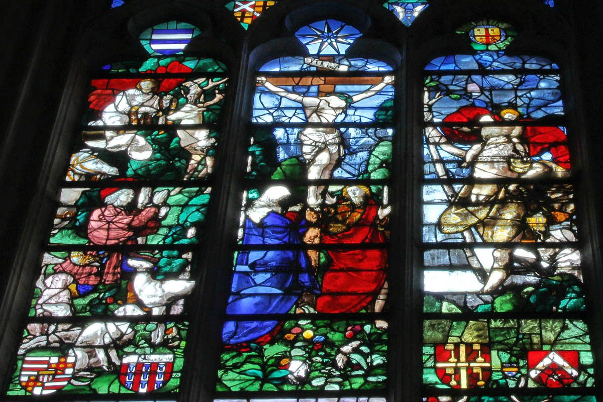 La Vision de saint Hubert, et saint Christophe portant l'Enfant, Verrière de Roncherolles, cathédrale de Beauvais, 1522.