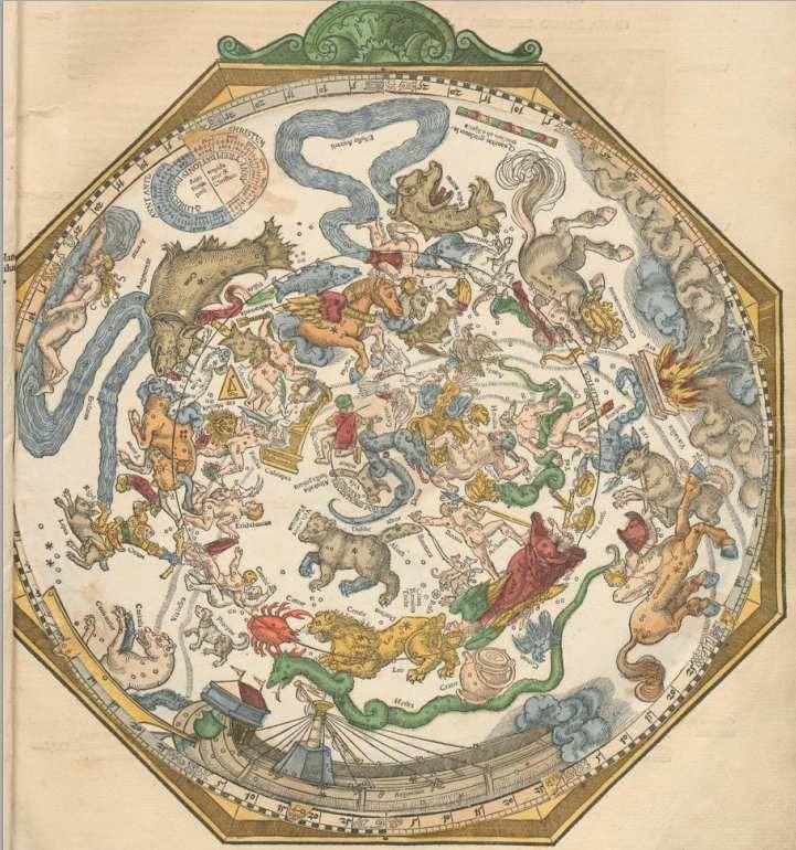 Pierre Apian, Carte céleste 1540, Astronomicum Caesarum page 18, http://www.atlascoelestis.com/Zagrebelsky/Astronomicum%20Caesareum[1].pdf