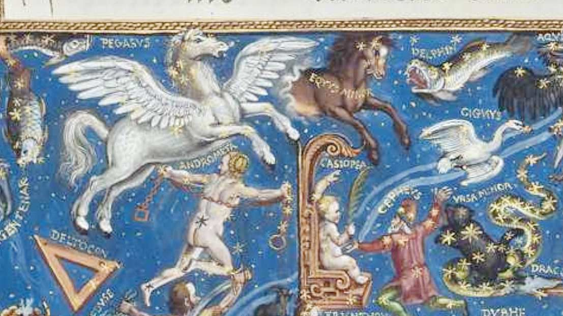 Equus Minor,  Hans Mielich, 1570, enluminure de la partition du Motet Laudate Dominum de Roland de Lassus, Mus. Ms. AII folio 157, document Bibliothèque Nationale de Bavière.