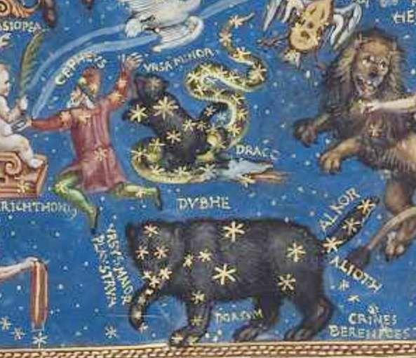 Ursa Major et Ursa Minor, Hans Mielich, 1570, enluminure de la partition du Motet Laudate Dominum de Roland de Lassus, Mus. Ms. AII folio 157, document Bibliothèque Nationale de Bavière.