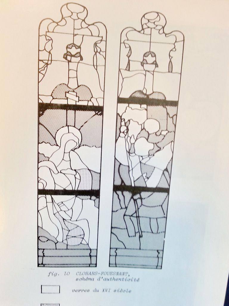 Schéma d'authenticité de la baie 2 de l'église Saint-Hilaire de Clohars-Fouesnant d'après R. Barrié 1977 : en hachuré les verres restaurés.
