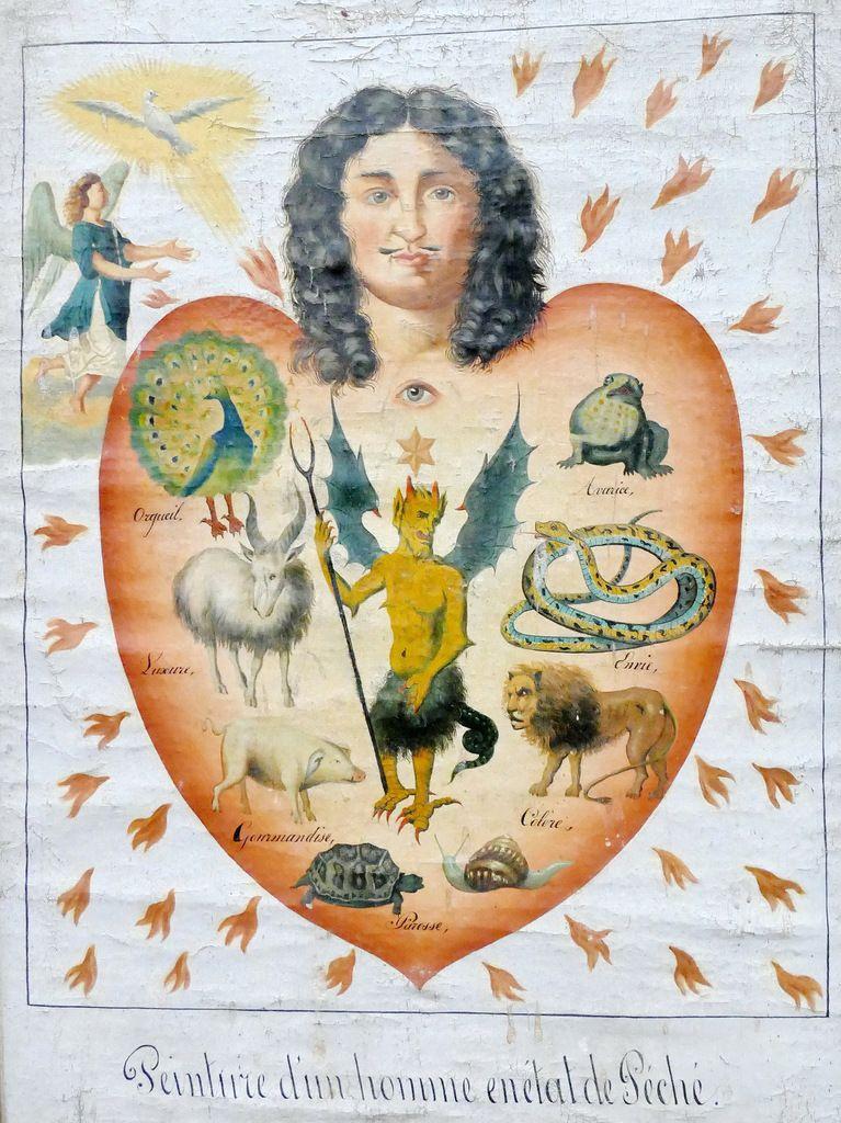 « Peinture d'un homme en etat de Péché.»Douze tableaux de mission de l'évêché de Quimper ; la série de Plouguerneau 1., photographie lavieb-aile
