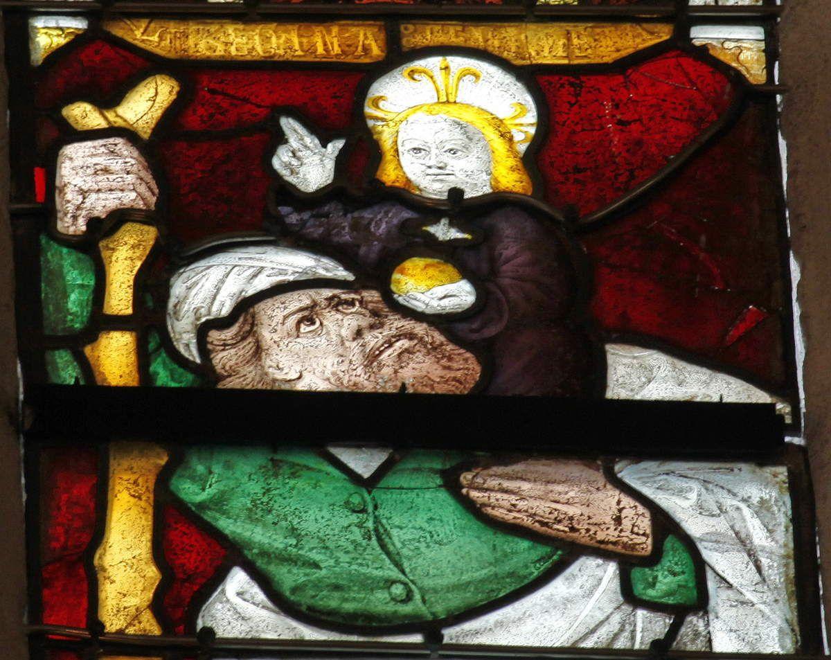 Lancette D. Saint Christophe. Baie 113, cathédrale Saint-Corentin de Quimper, photographie lavieb-aile.