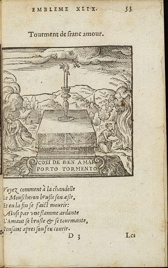 Adriaen de Jonghe, Les Emblesmes, 1567, emblème XLIX, Tourment de franc amour, page 53.