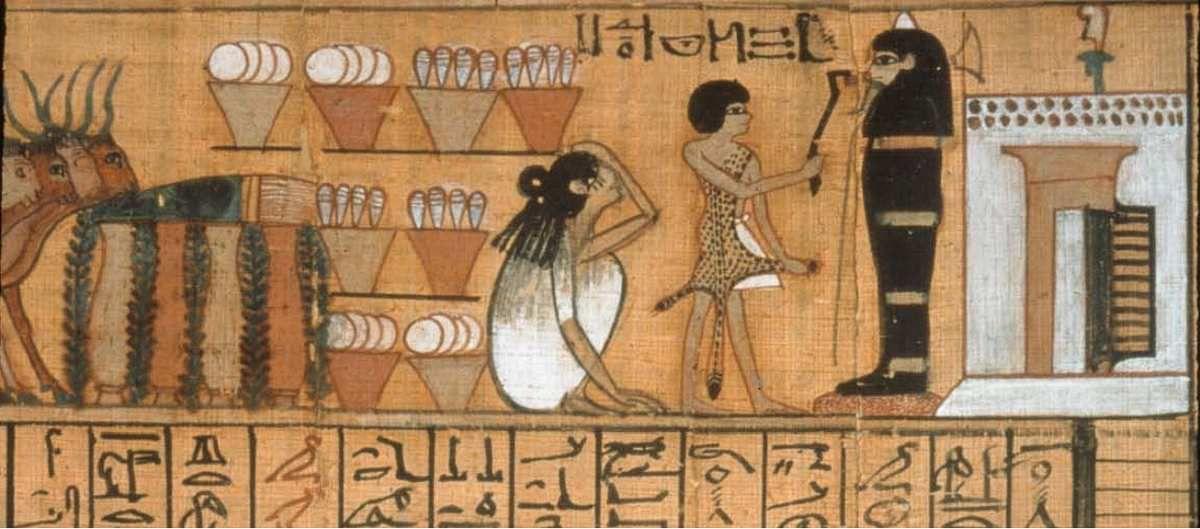 –Livre des Morts de Nebqed Nouvel Empire, règne d'Aménophis III, 1391-1353 av. J.-C. Papyrus peint ; L. 6,30 m ; H. 31 cm, Musée du Louvre.