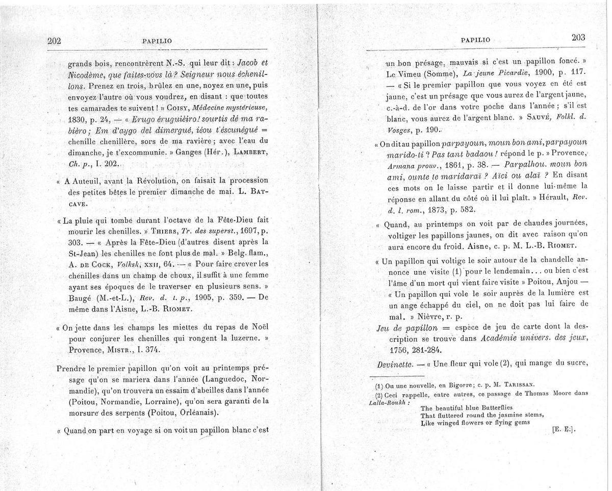 Eugène Rolland, Les insectes : noms vulgaires, dictons, proverbes, légendes, contes et superstitions - Paris : Editions G.-P. Maisonneuve et Larose, 1967 , page 202-203.