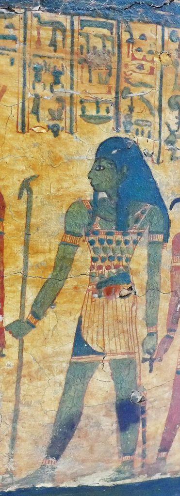 Le dieu Atoum, cuve du cercueil de la chanteuse d'Amon Hatshepsout , XXIe dynastie, Musée de Grenoble, photo lavieb-aile.