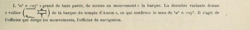 Alexandre Moret, Revue Egyptologique 1919 page 181 et 182