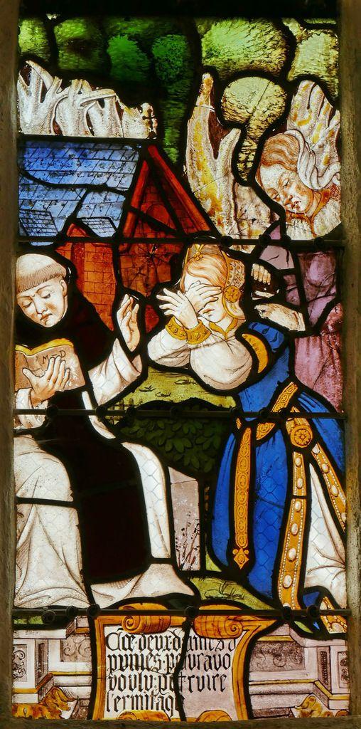 Vitrail de la vie de saint Fiacre, chapelle Saint-Fiacre, Le Faouët. Photographie lavieb-aile.