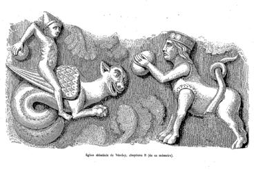 Chapiteau du Basilic, Vézelay, selon C. Cahier, http://gallica.bnf.fr/ark:/12148/bpt6k5698889x/f242.item.r=v%C3%A9zelay