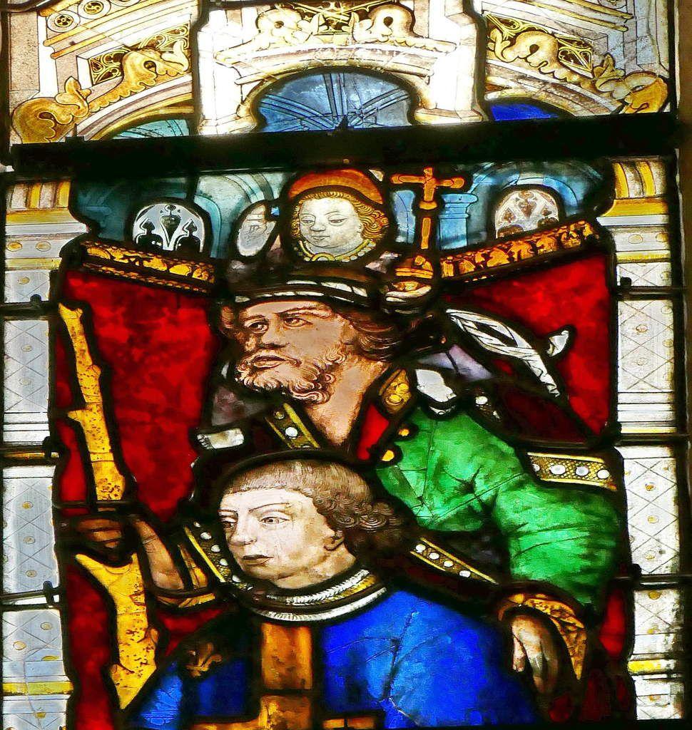 Saint Christophe , Baie n°114, fenêtre haute du transept sud, cathédrale de Quimper, photo lavieb-aile.