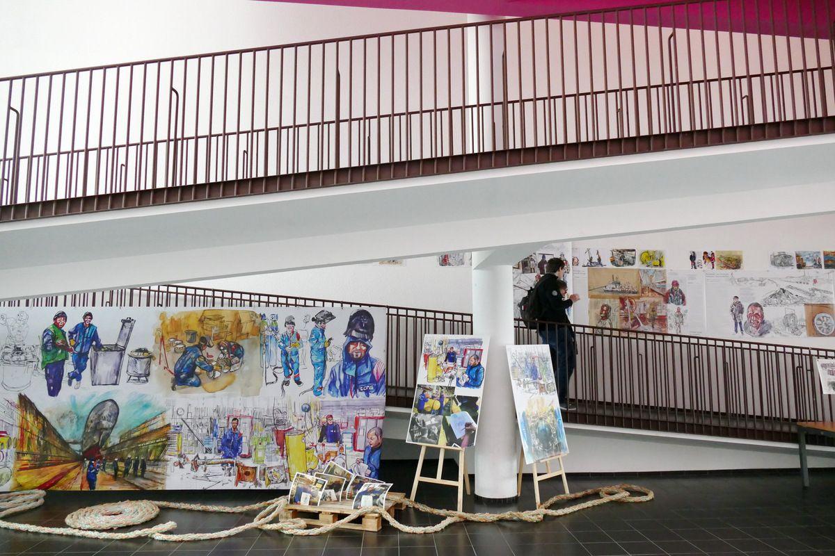 """Exposition """"Brest à quai"""" de Damien Roudeau et Nicolas Le Roy  à l'UBO, photo lavieb-aile."""