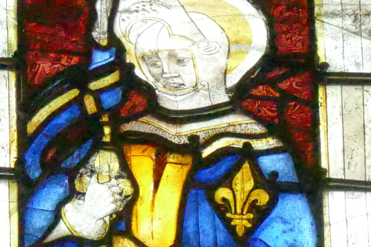 """Saint """"Julien"""", baie n°109, 2ème travée, nord du chœur, cathédrale de Quimper, lavieb-aile."""