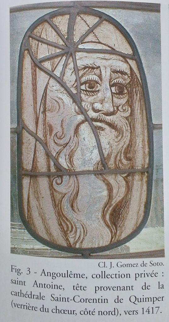 Verre d'origine (XVe) de la tête de saint Antoine, collection privée, Angoulême, publié par Gatouillat 2009.