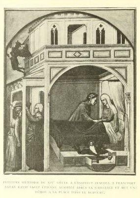 Le diable substitue un démon à Étienne nouveau-né, qu'il lâche devant la porte de saint Julien. Panneaux du Musée Städel.
