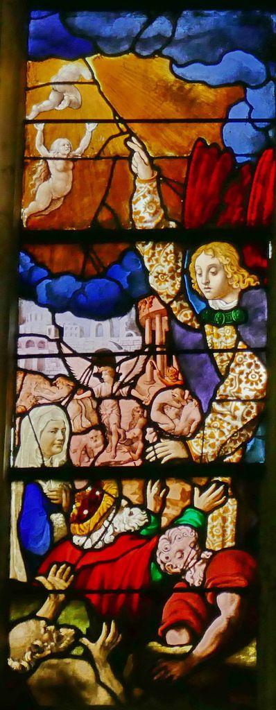 Lancette A, registre inférieur, baie n°6 du Jugement Dernier, église Saint-Étienne de Beauvais, photographie lavieb-aile.