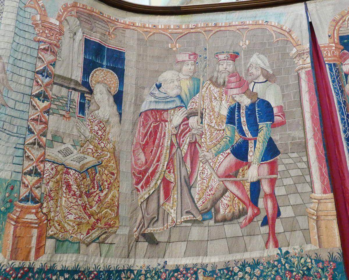 Scène n° 4, élection de Joseph par la verge fleurie, Tenture de la Vie de la Vierge, église Notre-Dame, Beaune. Photographie lavieb-aile.