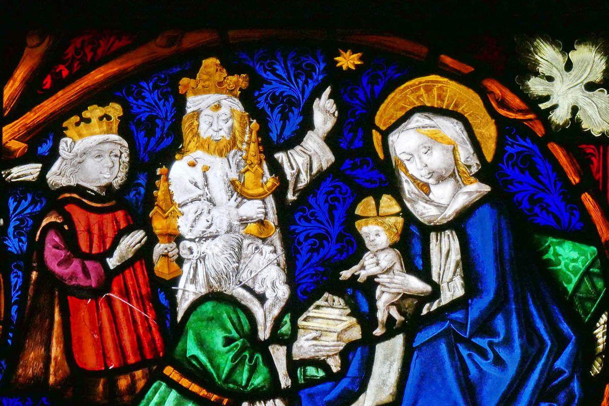 Adoration des Mages, baie n°7 , Vigne de Jessé et Vie de la Vierge (1466), église Saint-Dominique, Saint-Thann. Photographie lavieb-aile.