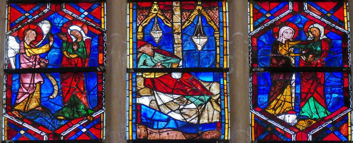 2e registre, baie 202, Arbre de Jessé et Enfance du Christ, cathédrale Saint-Gatien de Tours, photographie lavieb-aile.