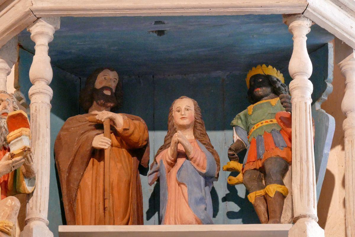 Joseph, Marie et le Mage Balthazar. Retable de la Vierge, Notre-Dame du Crann (Spézet), photographie lavieb-aile.
