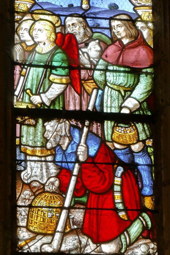 Registre supérieur, verrière de l'Adoration des Mages et des Bergers, chapelle Notre-Dame-du-Crann, Spézet, photographie lavieb-aile.