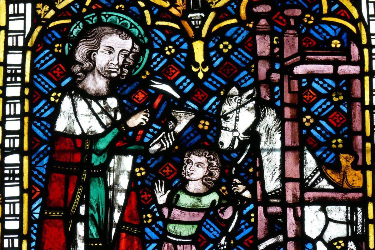 Lancette centrale de la verrière des Forgerons (Schmiedefenster) de la cathédrale de Fribourg, photographie lavieb-aile