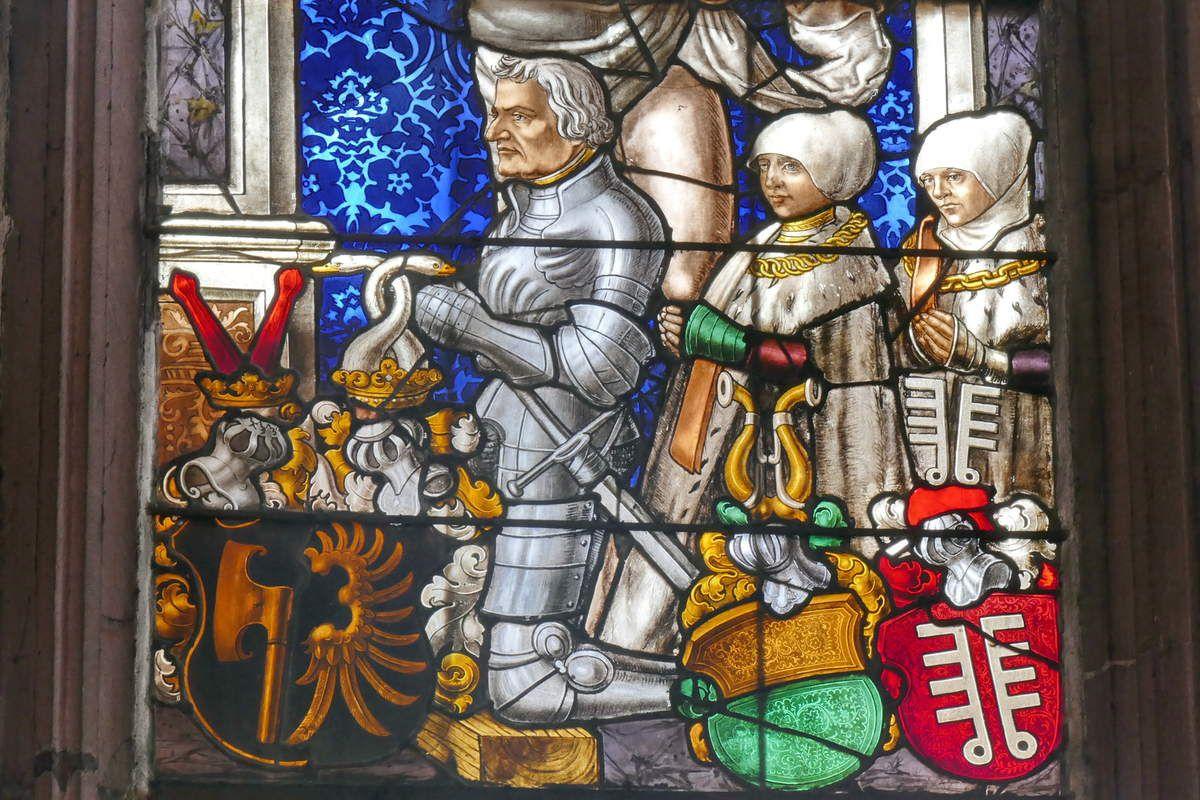 Fenêtre  de la chapelle Lichtenfels, v.1524, cathédrale de Fribourg-en-Brisgau, photographie lavieb-aile.